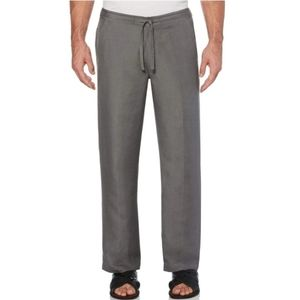 Cubavera Big and Tall Gray Drawstring Linen Pants